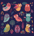 cute woodland owls funny characters with vector image vector image