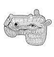 doodle of hippopotamus vector image vector image
