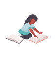 girl with books cartoon teenager reading young vector image vector image