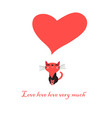 greeting card with love cat with heart vector image vector image