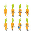 happy carrot cartoon character vector image vector image