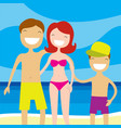 happy family on the beach summer vacation vector image vector image