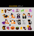happy halloween - stickers set cats and dogs in vector image