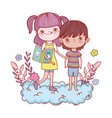 happy little kids reading books in the clouds vector image vector image