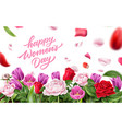 happy womens day lettering rose petal vector image