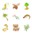 harmless animal icons set cartoon style vector image vector image