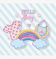 Hello baby cute cartoons card vector image