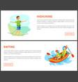 highlining man and rafting summer sports set vector image vector image