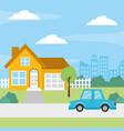 house car street vector image