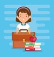 little girl with school supplies vector image