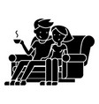 man and woman sitting on the sofa at home icon vector image