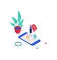 office location - modern colorful isometric vector image