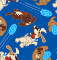 Puppy dogs playing in a seamless pattern vector image