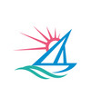 sail boat - logo template concept vector image