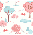 Seamless pattern with cute forest of love vector image vector image