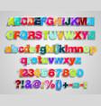 set colorful transparent letters vector image
