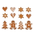 Set of gingerbread cookies Decorative gingerbread vector image