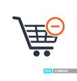 shopping cart icon with minus sign vector image vector image
