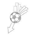 sketch of the flying football ball with arrow vector image vector image