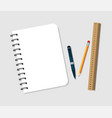 spiral notebook with pen pencil and ruler notepad vector image