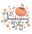 thanksgiving with text thanksgiving day pum vector image