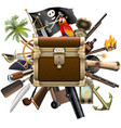 treasure hunt concept with chest vector image vector image