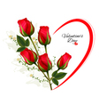 valentines day background with a bouquet red vector image vector image
