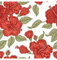 vintage red hibiscus flowers seamless pattern vector image