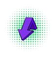 Violet down arrow icon comics style vector image