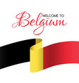 welcome to belgium card with flag of belgium vector image vector image