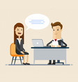 woman having a job interview with businessman hr vector image vector image