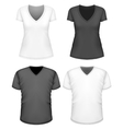 Women and men v-neck t-shirt short sleeve vector image