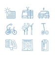 Green energy line icons vector image