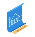 Architectural project icon isometric 3d style vector image