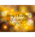 Merry christmas new year label ornament gold bokeh vector image
