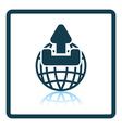 Globe with upload symbol icon vector image