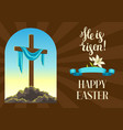 silhouette of wooden cross with shroud happy vector image