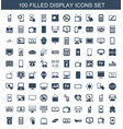 100 display icons vector image vector image