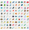 100 donation icons set isometric 3d style vector image vector image