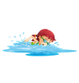 A young girl swimming in her green swimming attire vector image vector image
