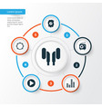 audio icons set collection of start meloman vector image