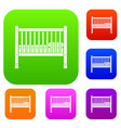 baby bed set collection vector image vector image