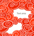 Background of red curled abstract clouds with blan vector image vector image