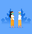 bali boy and girl give welcome greeting during vector image vector image