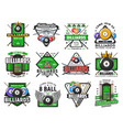 billiards pool game snooker sport club icons vector image vector image