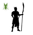 black silhouette of elven knight with spear vector image vector image