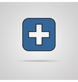 blue cross icon with shadow Eps10 vector image vector image