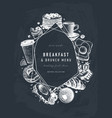 breakfast trendy design on chalk board morning vector image