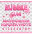 bubble gum latin font design sweet abc letters vector image