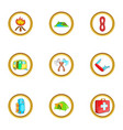 camping rest icons set cartoon style vector image vector image